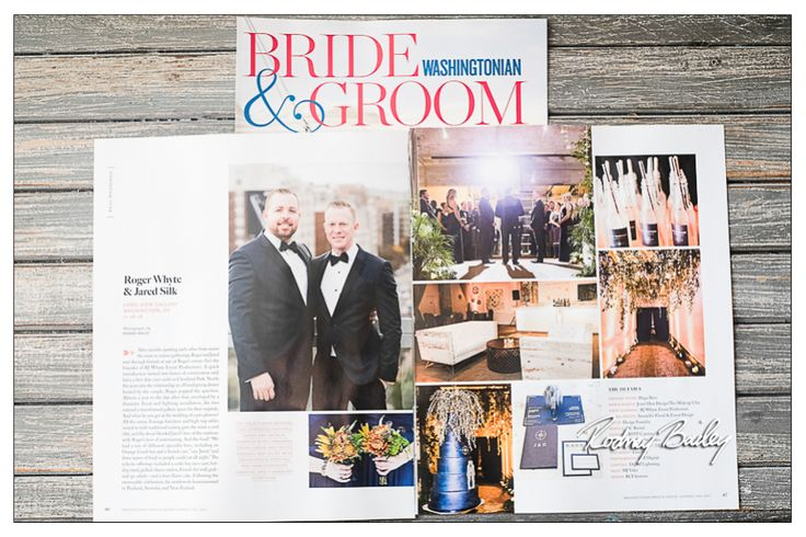 "Gay Wedding Long View Gallery Washington DC Roger Whyte and Jared Silk's wedding at Long View Gallery was featured in Washingtonian Bride & Groom Magazine for the Summer/Fall 2017 issue. The couple's wedding décor combined Roger's love of entertaining and Jared's love of the outdoors in a ""Woodland Chic"" wedding theme."