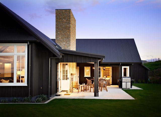 Black barn house home design rustic modern for Black and white house exterior design