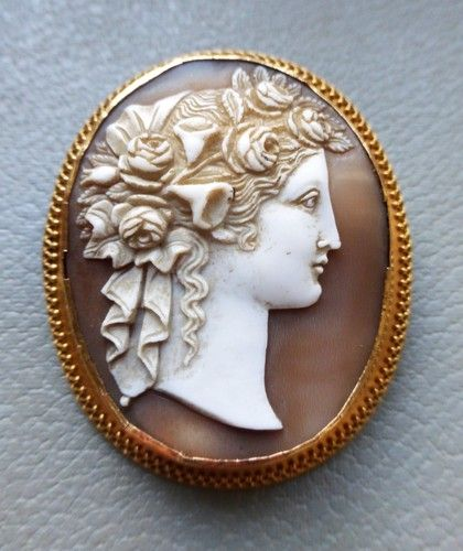 Antique victorian cameo brooch fine goddess flora 15ct ...