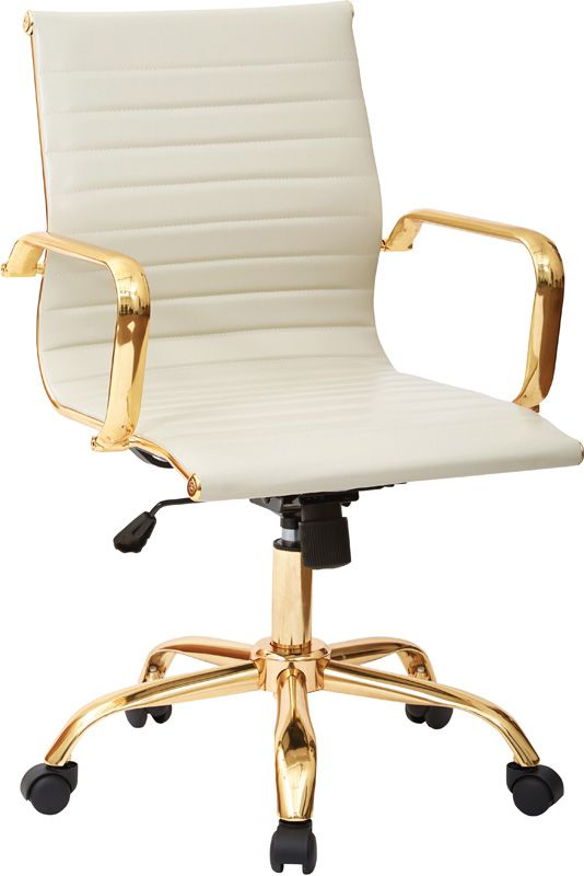 Work Smart Mid Back Faux Leather Office Chair with Built-in Lumbar Support and Gold Finish - Cream and Gold, Thick padded Cream Faux Leather seat and back with built-in lumbar support, One touch pneumatic seat height adjustment, Locking tilt control with adjustable tilt tension, Heavy duty Gold finished base with dual wheel carpet casters, 360 Degree swivel, Assembly required