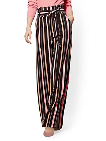 Shop 7th Avenue Pant - Paperbag-Waist Palazzo - Stripe - Tall. Find your  perfect size online at the best price at New York   Company.  0862d877deaf