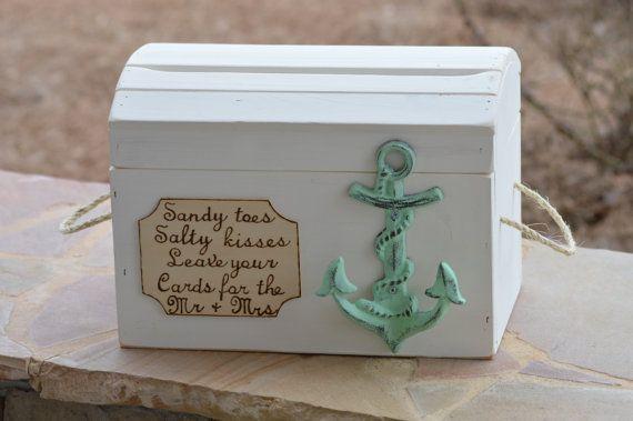 beach wedding card box anchor wedding by RedHeartCreations on Etsy, $115.00