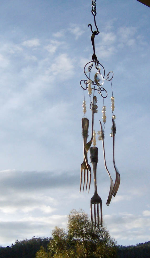 bent wire and old fork wind chime