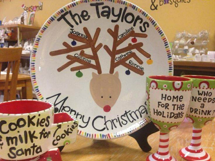 Paint your own pottery christmas ideas reindeer family for Paint your own pottery ideas