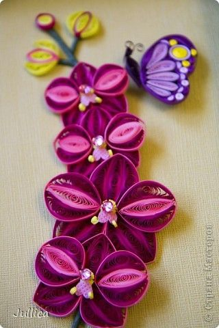 *QUILLING ~ Painting mural drawing Orchids Paper Quilling strips 7 photos