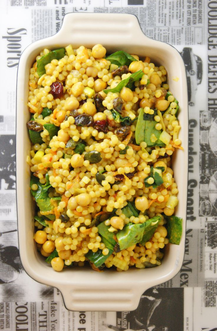 Curried pearl couscous salad. #couscous # salad by/ en.myfoodpassion.net