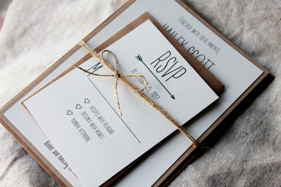 Modern design meets rustic elegance in these unique,yet still affordable, these invitations are the perfect introduction to your upcoming wedding. Featuring a beautiful cream cardstock backed by a high quality recycled kraft cardstock, the invitations are completed with a jute cord to hold the ensemble together. What is included: 5x7 invitation 4.875x3.5 RSVP card cream envelopes for both jute cord  The standard pricing comes with cream envelopes, but can be upgraded to kraft.  **all wording…