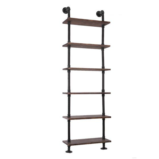 iKayaa 6 Tier Rustic Industrial Ladder Wall Shelves W/ Wood Planks DIY Iron Pipe Standing Book Shelf Utility Storage Rack