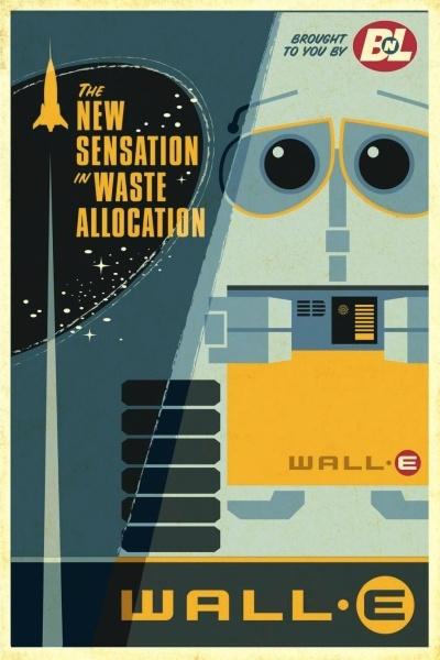 Cute retro style Wall-E poster