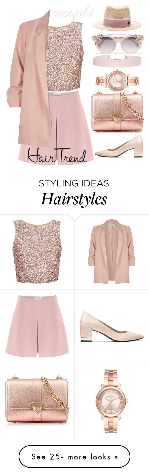"""""""495"""" by jujju-w on Polyvore featuring Valentino, River Island, Aspinal of London, Jimmy Choo, Humble Chic, Michael Kors, Maison Michel, hairtrend, rosegold and rainbowhair"""