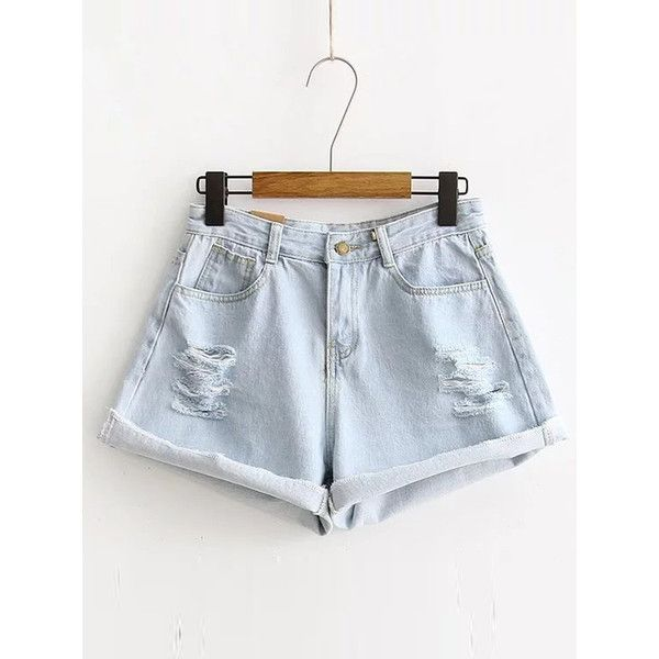 Ripped Detail Rolled Hem Denim Shorts featuring polyvore, women's fashion, clothing, shorts, denim short shorts, ripped shorts, destroyed jean shorts, torn jean shorts and jean shorts