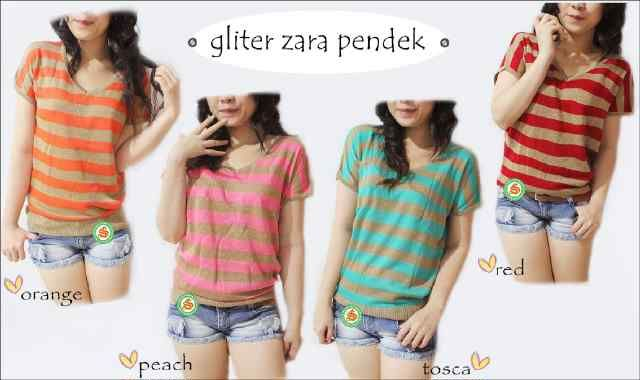 """Zara Glitter lengan pendek"" Ready Stock (produksi terus) Harga Rp 41000 Tersedia 4 warna"
