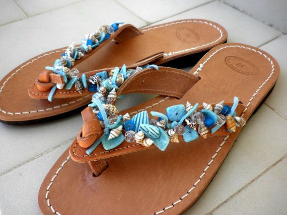 Greek leather sandals with shell beads,Mothers day gift,Leather sandals,Shell beads sandals,Blue decorated leather sandals,Summer sandals