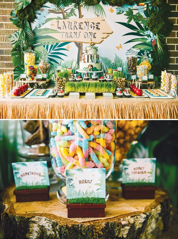 setup - grass skirt with lime green table cover centerpiece needed - lollipop topiary candy - gummy worms, banana runts or gummies