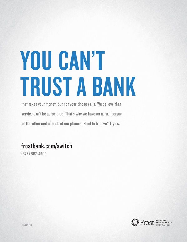 Fed up with your bank?  Come see the friendly folks at Frost Bank in the Park North Shopping Center!