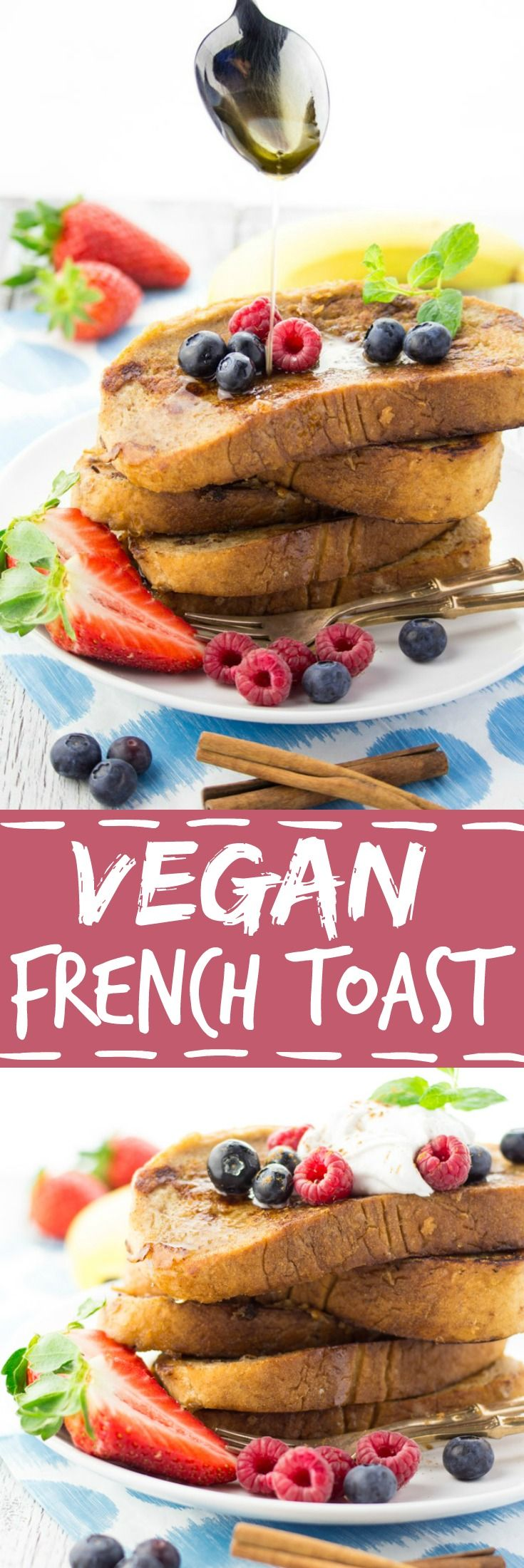 This vegan French toast with coconut cream and berries is super easy to make and so delicious! No eggs or milk required!