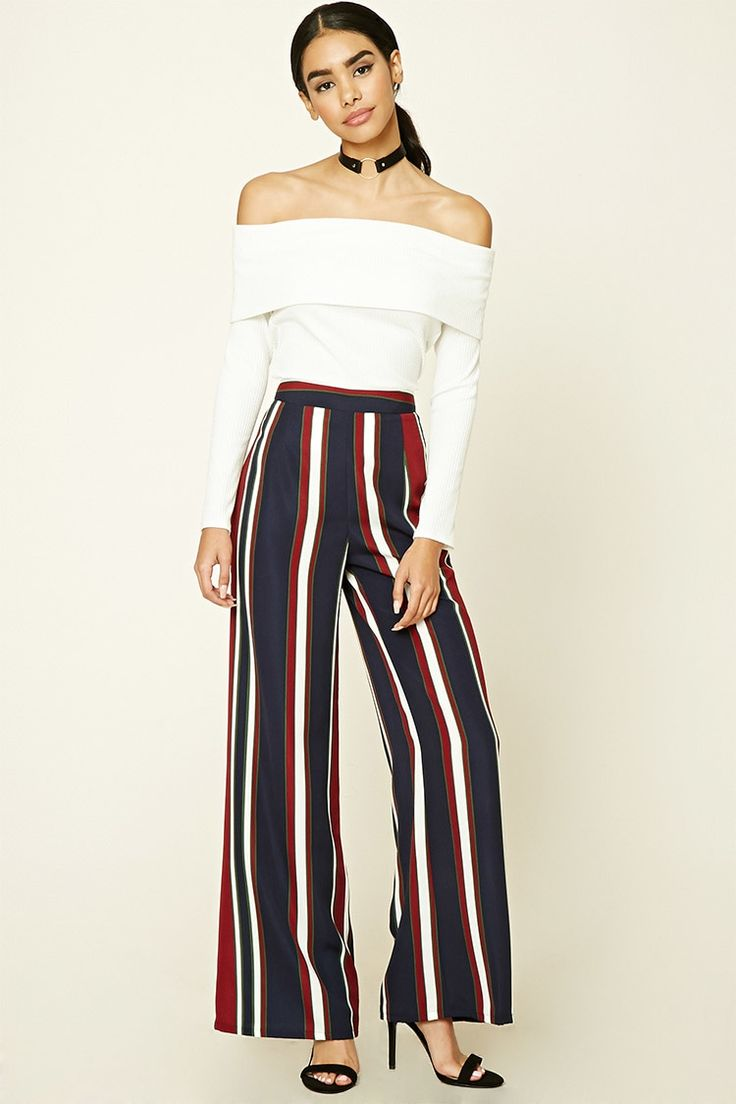 A pair of woven palazzo pants featuring vertical stripes, a straight leg, and a concealed side zipper.