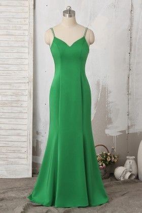 7a4cacd9a70 Long Emerald Satin Fit Flare Prom Dress with Detachable Chiffon Cape ...