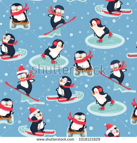 Seamless pattern with penguins. Cute animals pattern. Leisure activities in winter. Penguin cartoon vector illustration. Stock photography, images, pictures, Illustrations, ideas. Download vector illustrations and photos on Shutterstock, Istockphoto, Fotolia, Adobe, Dreamstime