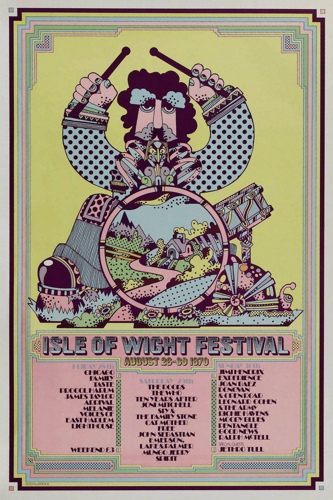 Isle Of Wight Festival-August 26-30 1970 concert poster in Music, Music Memorabilia, Rock | eBay