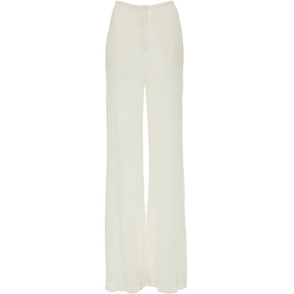 Hensely Linen High Waist Pant ($1,025) ❤ liked on Polyvore featuring pants, white, high waisted white pants, wide leg linen pants, linen pants, white pants and high-waist trousers