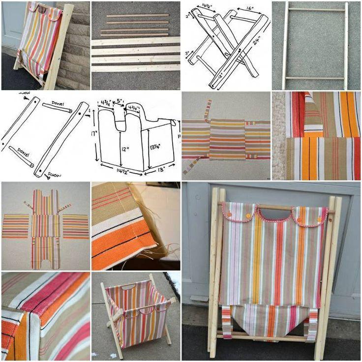 DIY. TUTORIAL  cesto de tela y madera para la ropa