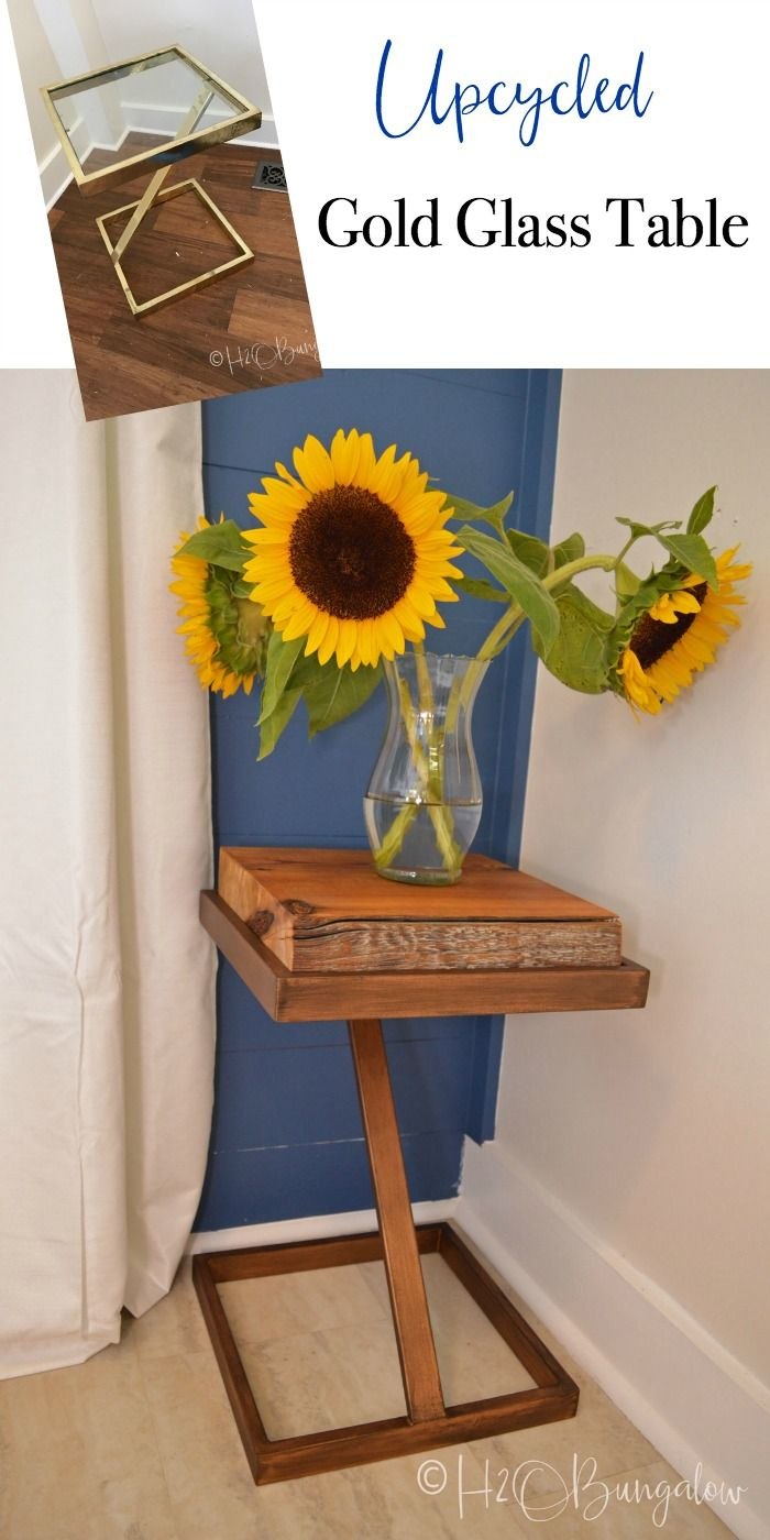 DIY tutorial to make a repurposed metal and wood side table from an old gold glass table into a wood and metal contemporary or rustic side table. Find over 450 DIY home decor and home improvement tutorials at H2OBungalow