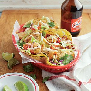 Beer-Battered Fish Tacos with Chipotle Crema | MyRecipes.com.   Can't wait to try this!