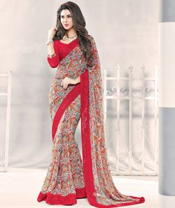 Buy Red Georgette Printed Saree With Blouse 77704 with blouse online at lowest price from vast collection of sarees at Indianclothstore.com.