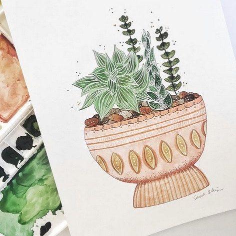 Articles similaires à milieu du siècle cactus succulentes aquarelle art imprimer oeuvre moderne de peinture botanique illustration pour premier appartement mur plante les amateurs d'art sur Etsy