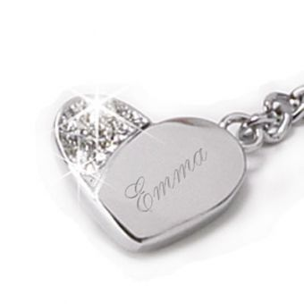 Keychain, Silver Heart with Crystals #MothersDay