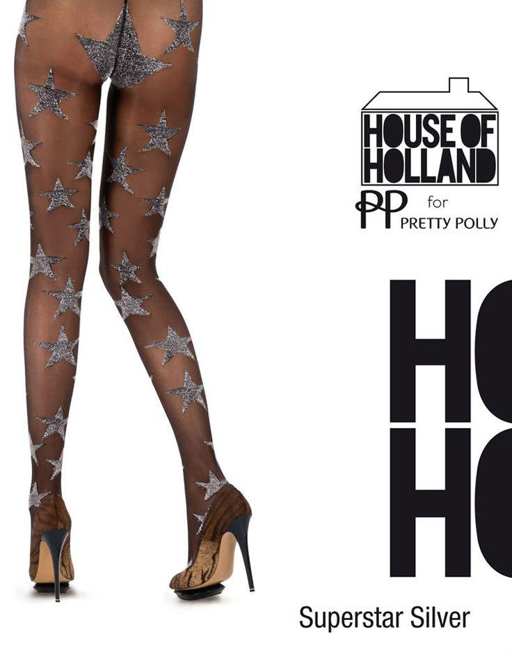 House of Holland Superstar Silver panty. 20 denier. Een zwarte panty met zilver kleurige sterren. Sterren lopen door tot de tailleband en panty is helemaal transparant. Zwart/zilver. One size