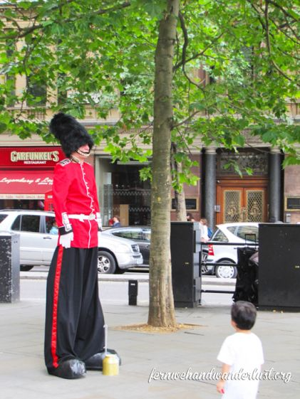 Street performer in London dressed like a Queen's Guard