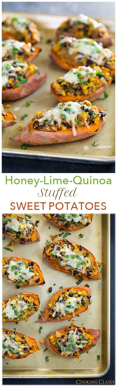 Honey Lime Quinoa Stuffed Sweet Potatoes - these are healthy and so DELICIOUS! statt dem Käse: weißes Mandelmus mit stillen Mineral verquirlen und überbacken
