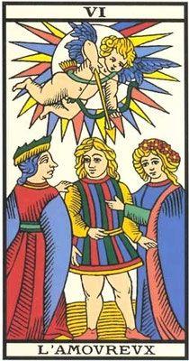 Interprétation de l'arcane de l'Amoureux dans le jeu du tarot de marseille. - Apprendre le Tarot de Marseille, le Tarot Divinatoire