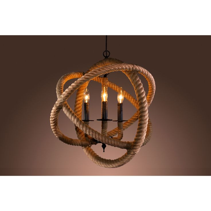This modern 3-light chandelier features three incandescent bulbs and a unique rope design encircling the lights. This lighting fixture will add a contemporary touch to your home.