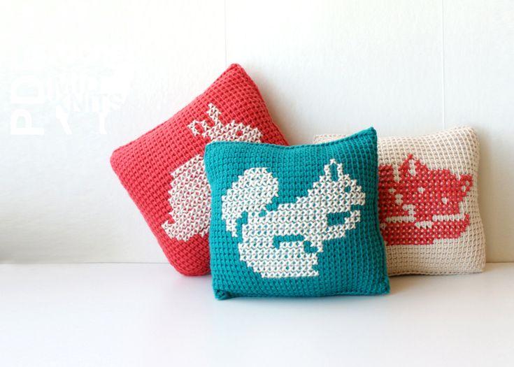 "Midknits: DIY Crochet PATTERN - Learn To Tunisian Crochet Woodland Animals Cross-stitch Throw Pillows - 8"" Square Squirrel, Fox, Rabbit (2016008) by Erin Black"