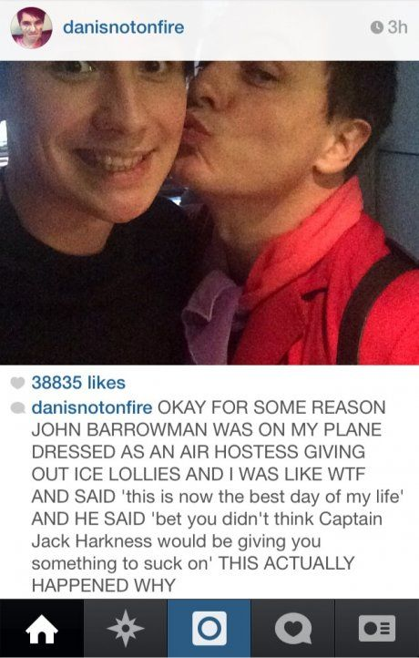 I'm not even surprised by this. Does John Barrowman keep a bag filled with suggestive innuendo for moments like this?