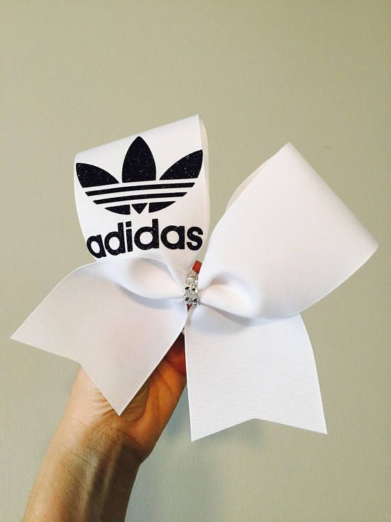 Adidas black and white trefoil cheer bow. cheerleading hair bow. #cheerleading #ad
