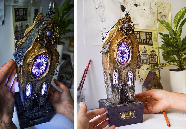 "Miniature cathedral called ""Alechemy""2017 Katarina Pridavkova #miniatureart #miniaturehouse #diorama #dioramamodel #modelmaking #cardboardhouse #lighthouse #housedecoration #pridavkova"
