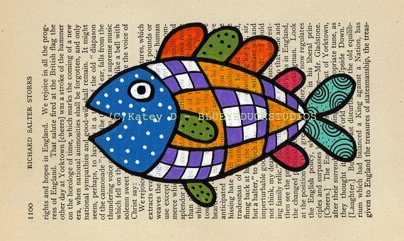 Colorful Flying Blimp Fish Folk Art original by blueyeduckstudios, $15.00