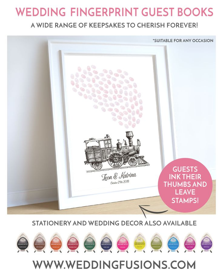 Fingerprint wedding guestbook. A beautiful train memento for your big day and unique keepsake to cherish forever. **Delivered digitally**
