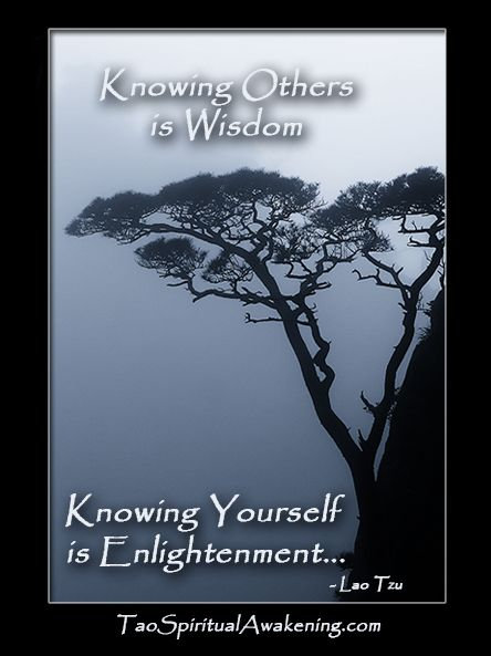 Spiritual Quotes - Knowing others is Wisdom, Knowing Yourself is Enlightenment... http://taospiritualawakening.com