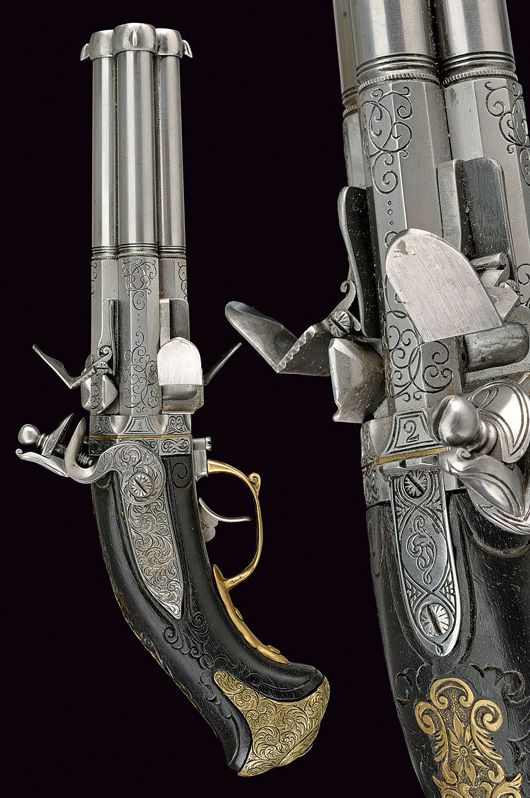 A beautiful four-shot flintlock pistol in style of 1730,    provenance:	 	Germany dating:	 	last quarter of the 19th Century.