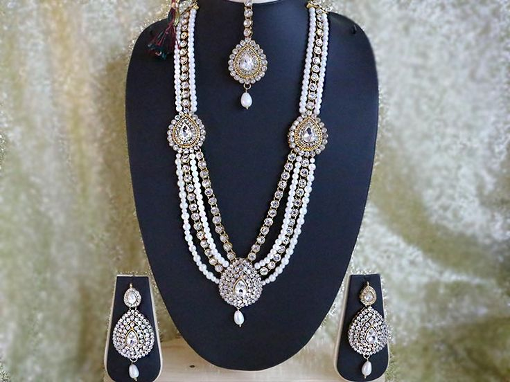 Indian Wedding Fashion Long #Rani_haar Necklace Earrings Ethnic Jewelry.A Beautiful Indian Wedding Pearls Bridal Set.