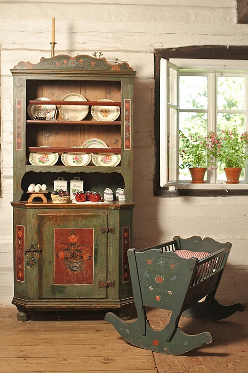 Old Czech rural house furniture folk traditonal Czechia