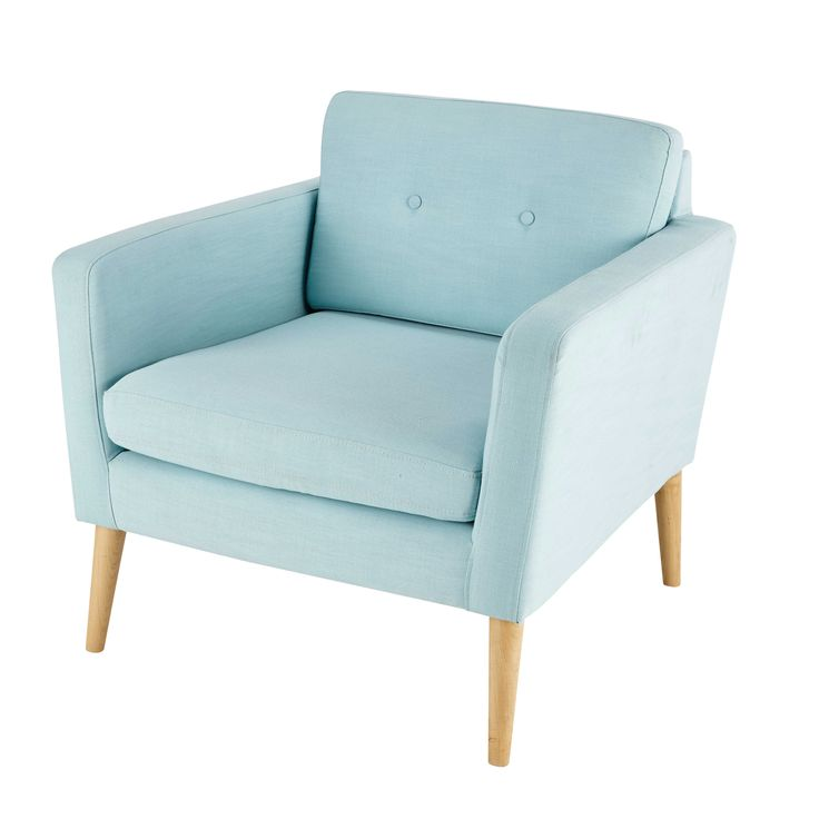 Sillón vintage de tela azul claro Noe