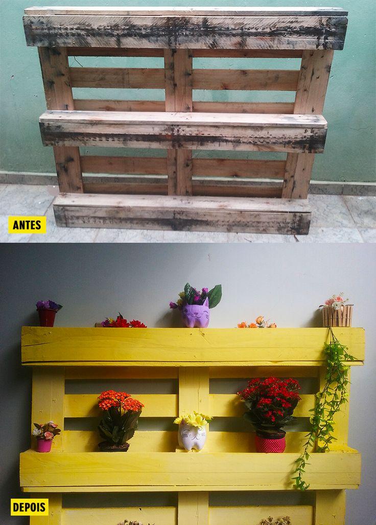 Faça uma floreira linda e charmosa usando pallets! Você pode usá-la para decorar uma parede, o jardim ou a área de lazer! Se você tiver jeitinho com essas coisas, pode até fazer um pequena horta nela!