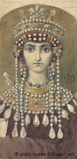 Eugène Grasset Copie d'une mosaïque de Ravenne: L'impératrice Théodora--Eugene Grasset's copy of a mosaic in Ravenna depicting empress Theodora