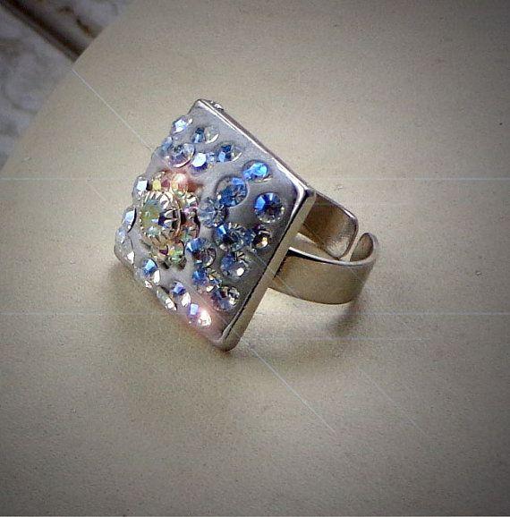 Ceralun crystal clay ring with Austrian crystal by elenamaratos, $25.00